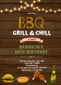 BBQ grill chill birthday Invitation A6 template
