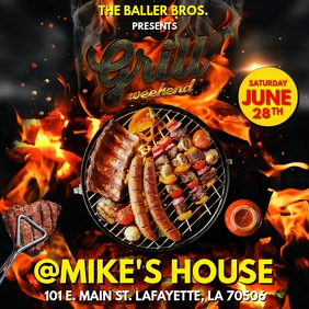 BBQ GRILL WEEKEND PARTY FLYER