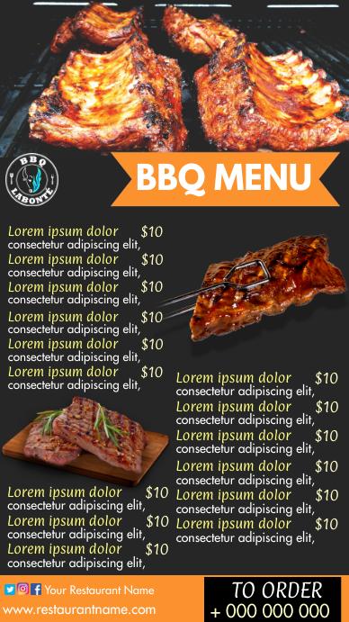 BBQ menu Digitale display (9:16) template
