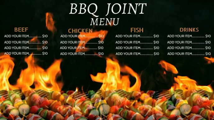 BBQ menu digital display Digitale Vertoning (16:9) template