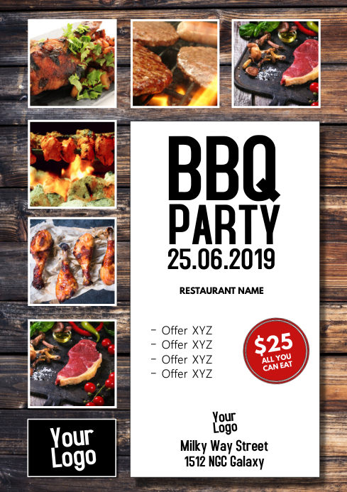 BBQ Party Barbecue Event Flyer Poster Meat Grill Food