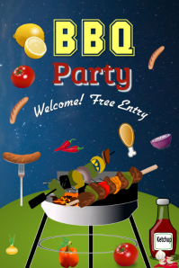 BBQ PARTY Banner 4 x 6 fod template