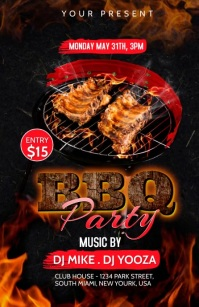 BBQ Party invitation Half Page Wide template