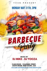 BBQ Party invitation Cartel de 4 × 6 pulg. template