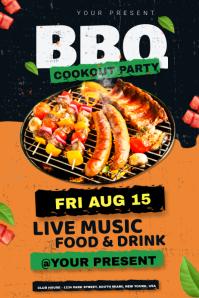 BBQ Party invitation Баннер 4' × 6' template