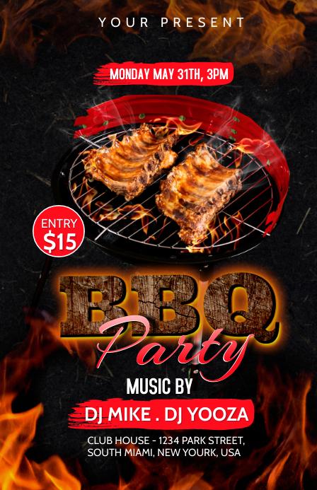 BBQ Party invitation Полстраницы широкого формата template