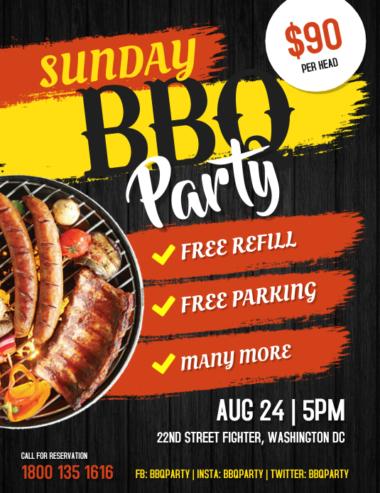 BBQ Party Poster Flyer Template