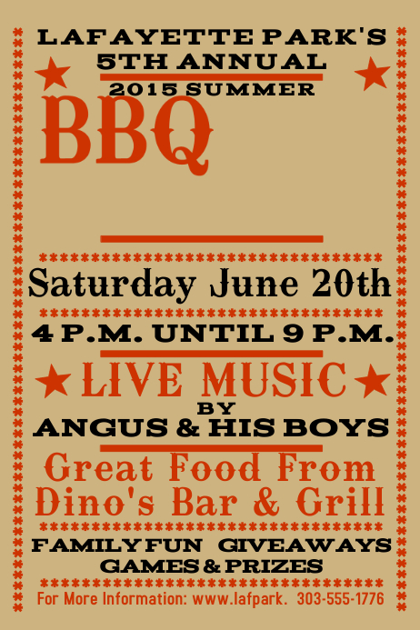 BBQ Poster template