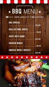 BBQ Restaurant Video Menu Template Ecrã digital (9:16)
