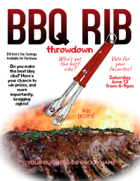 BBQ Ribs Cooking Contest competition Flyer ใบปลิว (US Letter) template