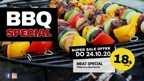 BBQ Special Banner Header Offer Promotion Ad Facebook Cover Video (16:9) template