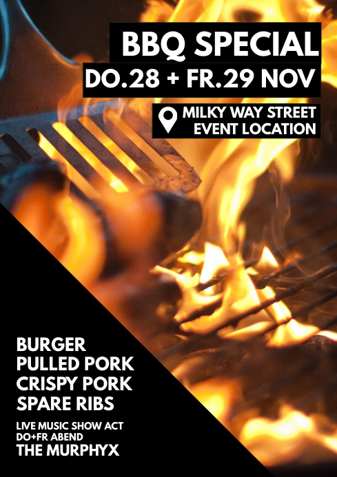 BBQ Special restaurant Invitation Flyer Event A4 template