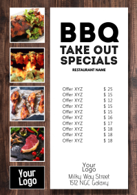 BBQ Special restaurant Take Out Flyer Event A4 template