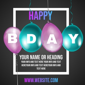 BDAY B DAY B-DAY PARTY INVITE TEMPLATE Quadrat (1:1)