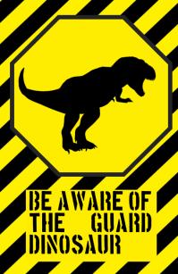 be aware warning alert attention dinosaur tyrannosaurus funny joke sign