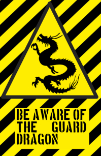 be aware warning alert attention dragon funny joke sign