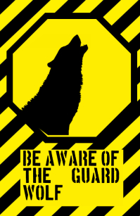 be aware warning alert attention guarding guard dog funny joke sign