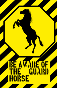 be aware warning alert attention guarding horse funny joke sign
