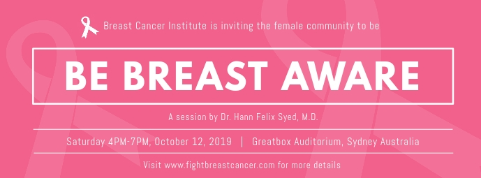 Be Breast Aware Event Cover na Larawan ng Facebook template