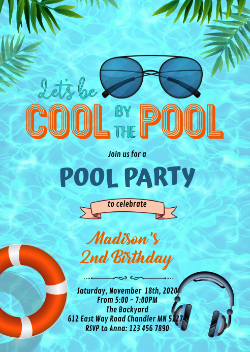 Be cool by the pool Party invitation A6 template