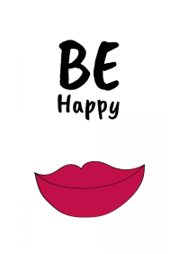 Be Happy lips Scandinavian wall art template free a4