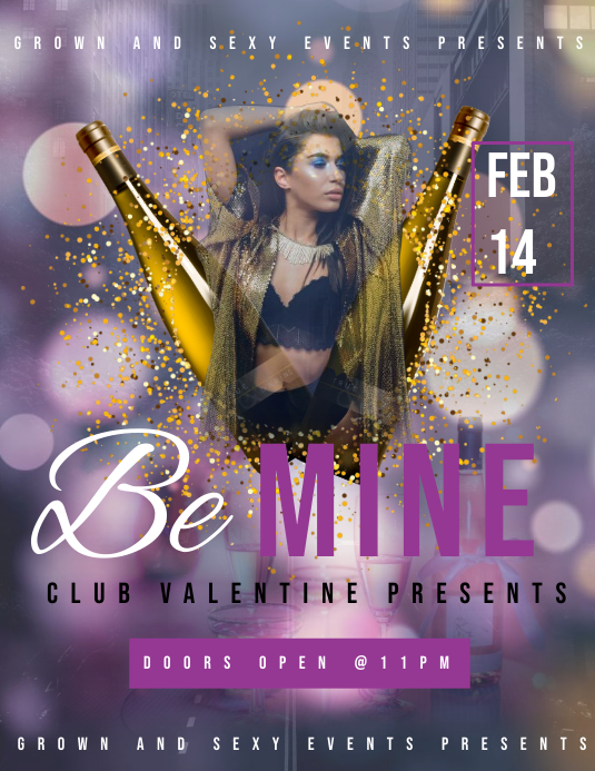 Be mine Flyer (Letter pang-US) template