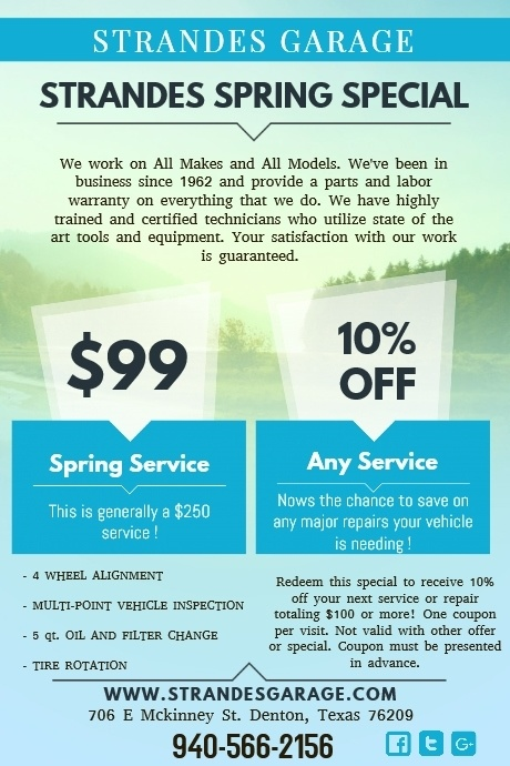 Auto Repair Spring Special in Denton, TX | Strande's Garage