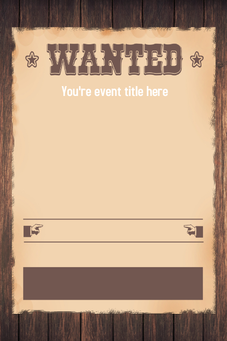 wanted western themed party invitation flyer template | postermywall, Wedding invitations