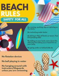 beach activities, beach Folheto (US Letter) template