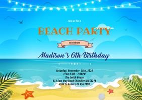 Beach background invitation A6 template
