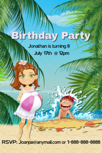 Beach Birthday Party Flyer