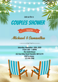 Beach chairs couples shower invitation