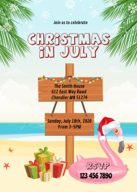 Beach christmas in July party invitation A6 template