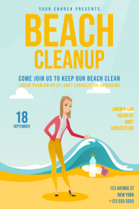 Beach Cleanup Day Flyer Template