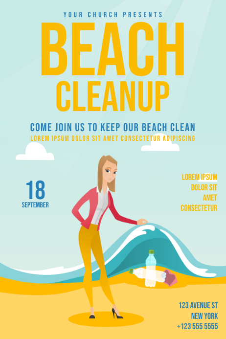 copy of beach cleanup day flyer template