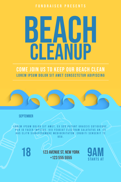 beach cleanup flyer template postermywall