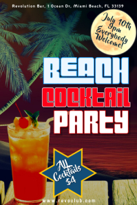 Beach Cocktail Party Poster Template