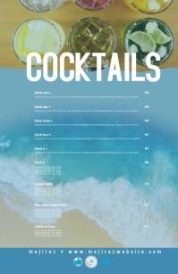 Beach Cocktails Drinks Bar Restaurant Menu Halv side bred template