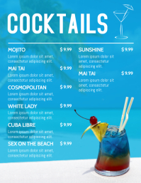 Beach Cocktails Menu Template