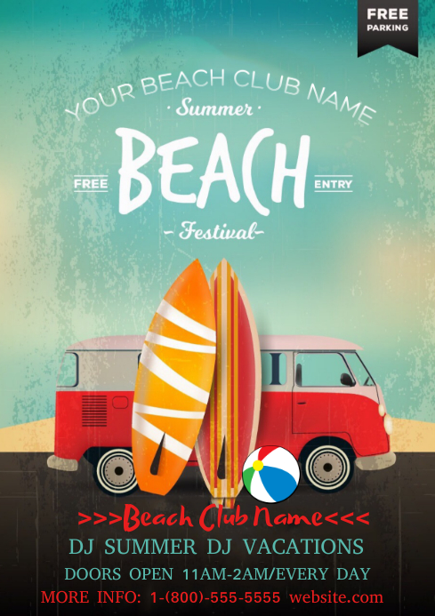Beach Festival A4 template