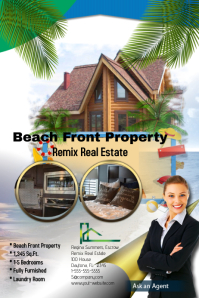 Beach Front Property Real Estate Template Banner 4' × 6'