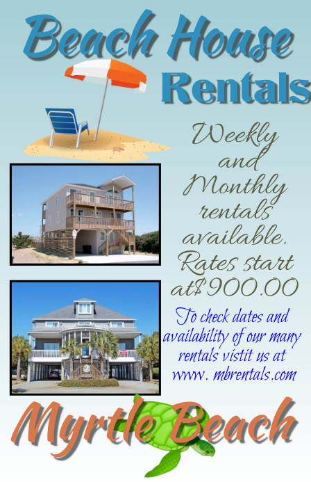 Beach House Rental Advertisement Template Postermywall