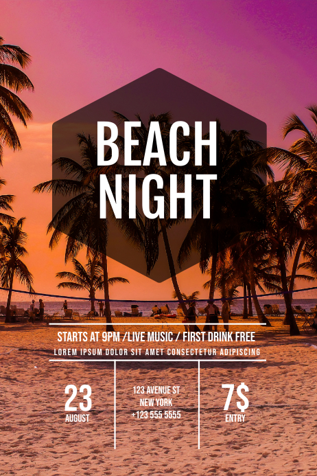 Beach Night Party Flyer Template