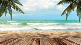 Beach ocean virtual zoom background Digital Display (16:9) template