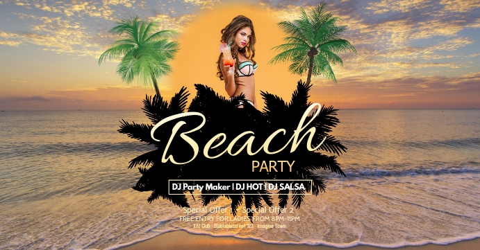 Beach Party Bar Beachparty Flyer Sun Club Ad