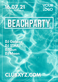 Beach Party Bar Beachparty Flyer Water Simple Event