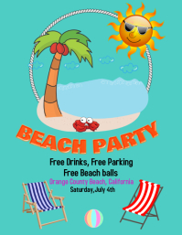 Beach party beach ball, beach activities Volantino (US Letter) template