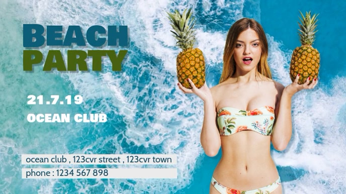 beach party flyer template Цифровой дисплей (16 : 9)