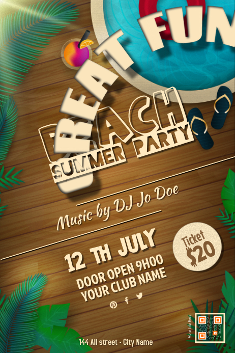 Beach Party Flyers. Pool Party Flyer Template