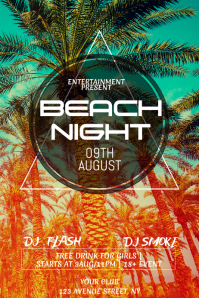 Beach Party night flyer template